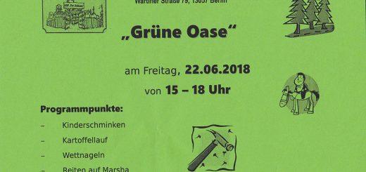 Flyer Grüne Oase Fest 2018