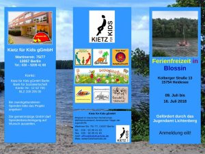 Flyer mit Infos zur Reise