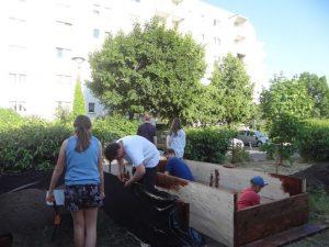 DFichtes Gedränge bei den Arbeiten im Garten