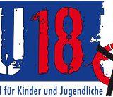 Ein blau-weiß-rotes Logo der U18-Wahl