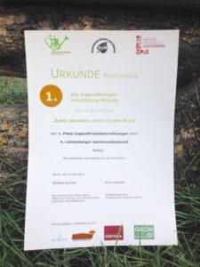 Siegerurkunde Gartenwettbewerb 2019