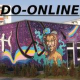 Außenansicht Mikado, mit Graffiti (Lila Hintergrund, ein Peace-Zeichen und ein Löwe)