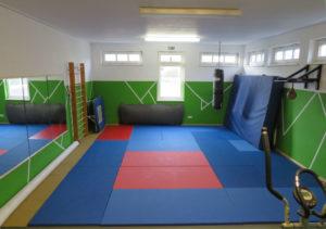 Ein mit Fallschutzmatten ausgelegter Sportraum. Rechts ein Sandsack, links eine Spiegelwand, ein Trampolin und ein Kletterrost